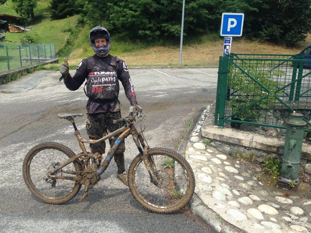 Muddy after a wet practice run  on Megavalanche bottom section